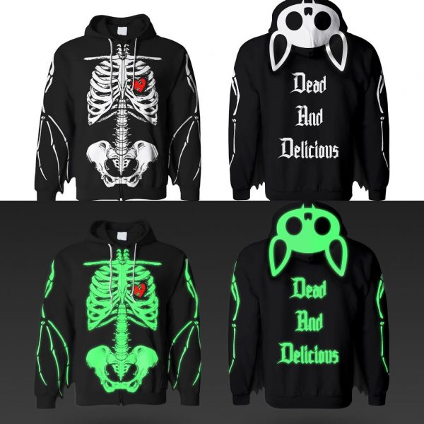 Dead And Delicious Bat Wing Glow In The Dark Ribcage Hoodie With Bat Ears! 2.0 (FREE GIFT INCLUDED) - thedarkarts